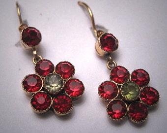 Antique Victorian Garnet Paste Gold Earrings Rare 19th Century Vintage