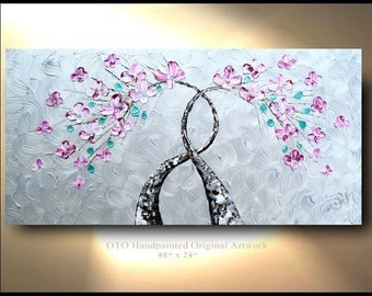 Shiny Tree Painting Wall art Metallic Silver Background Pink Flower Painting Abstract Art Canvas oil painting Wall Decor Artwork OTO