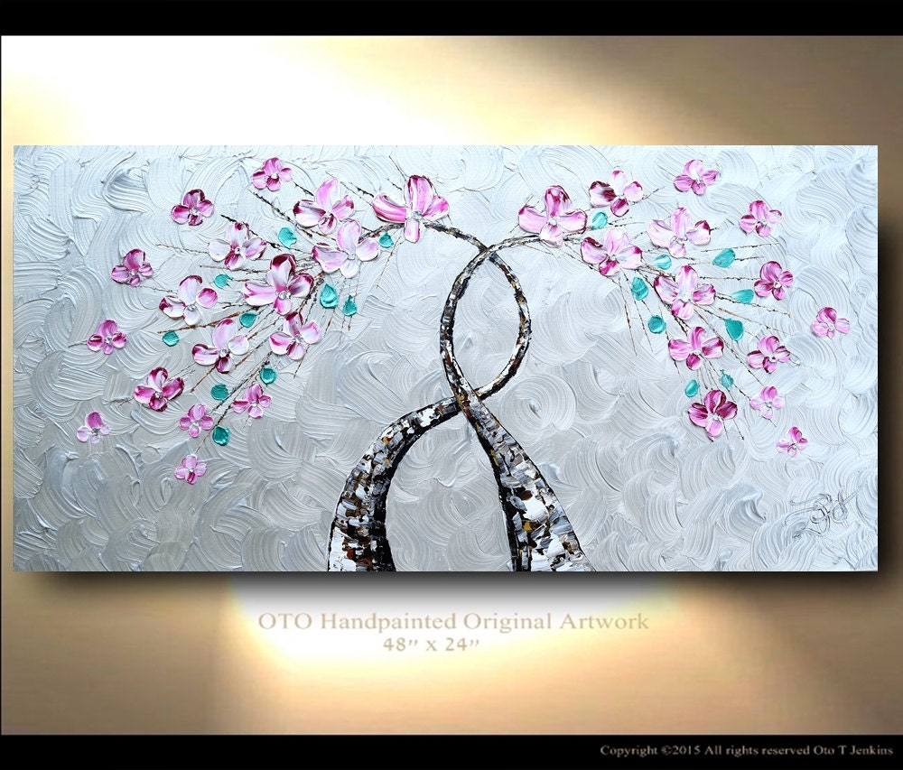 Shiny tree painting wall art metallic silver background pink for Pink wall art