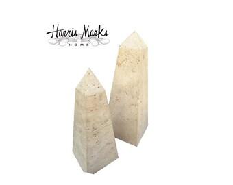 Obelisk Travertine Italian Pair Obelisks Vintage Large Hollywood Regency Modern MCM Home Decor