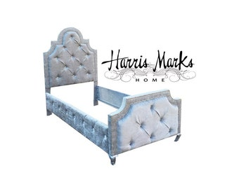 Tufted Bed Upholstered Twin Bed Velvet Nail Head Trim Fabric Button Rail Style Footboard CUSTOM ORDER For JEN