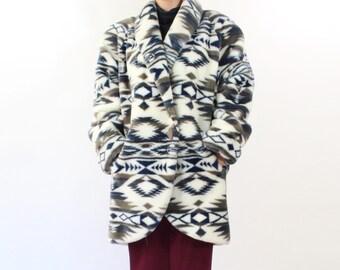 VINTAGE Plush White Coat Southwest Winter