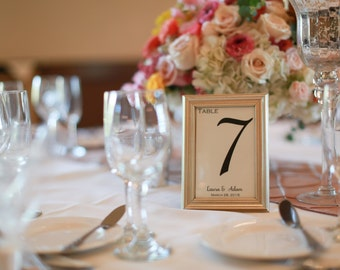 Wedding Table Cards, Metallic Table Numbers, Casual Wedding, Elegant Table Numbers