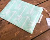Clearance*** Small Cosmetic Bag/ Pouch -  Mint and White Arrows