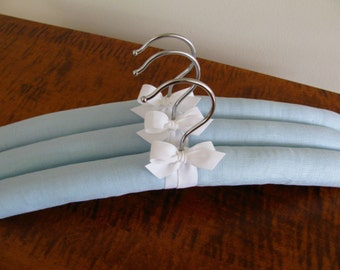 Padded Hangers, Something Blue, Blue Linen Hangers, Covered Hangers, Womens Hangers, Clothing Hangers, Organic Ribbon, Clothes Hangers Sets