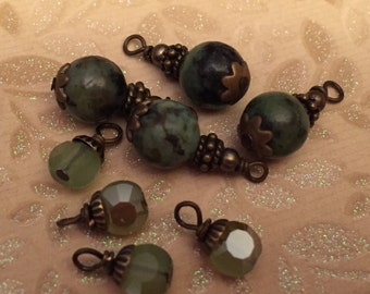 8 piece set Limited supply Dangle drops  charms earrings pendants Brass czech glass african turquoise
