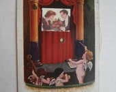 Mechanical Postcard, Ullman Mfg. Co., 1907, Cupid Conductor, Romance, Valentine, 1911 cancel, Revolving Pictures Series
