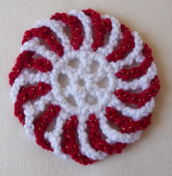 Peppermint Coasters Crochet Red White Swirl
