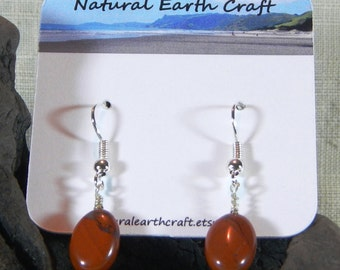 Red River jasper earrings red jasper oval beads semiprecious stone jewelry packaged  in a colorful gift bag 3003 ABCDE