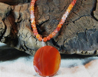 "Red orange carnelian necklace 18"" long banded agate pendant July birthstone semiprecious stone jewelry packaged in a colorful gift bag 11837"