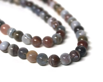 Botswana Agate beads, 6mm round natural gemstone, full & half strands available  (1137S)