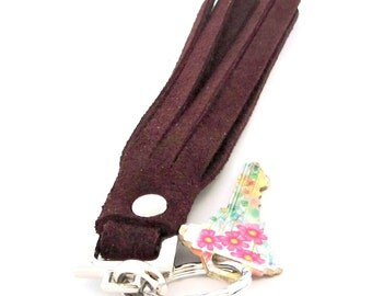 Burgundy Suede Tassel / Leather Tassel Keychain / Burgundy Key Chain / Burgundy Leather Tassel / Burgundy Tassel