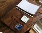 A5 folio - leather organizer, ipad mini binder pad folio, leather notebook, leather portfolio with 9 pockets handmade by Aixa Sobin.