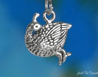 Sterling Silver Quail Charm Pretty Quails Bird Solid .925