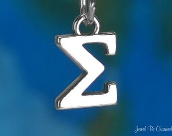 Solid Sterling Silver Greek Letter Sigma Charm Fraternity Sorority 925