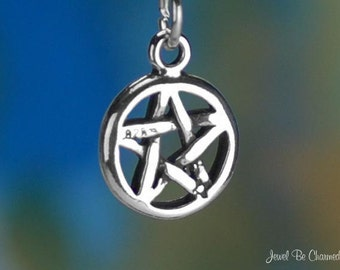 Pentacle Charm Sterling Silver Small Magic Amulet Pentagram Solid .925