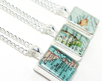 CUSTOM Vintage Map Square Necklace. You Select Location Anywhere In The World. One Necklace. Map Pendant. Map Jewelry. Travel. Personalized.