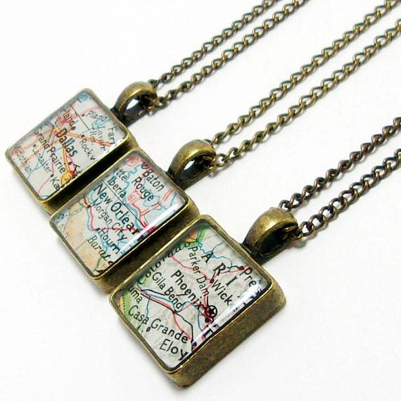 CUSTOM Square Vintage Map Necklace. You Select Location. Anywhere In The World. One Necklace. Travel Necklace. Journey Necklace. Wonderlust.