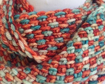 Knit Cowl Infinity Scarf Turquoise Rust
