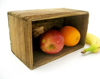 Vintage rustic wood box  organize display living room table kitchen dining bedroom bathroom office studio, gift ideas for men women fruit