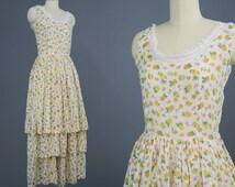 1930s Floral Cotton Tiered Sun Dress / Vintage Tea Party Dress