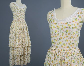 1930s Floral Cotton Tiered Sun Dress / Vintage Tea Party Dress