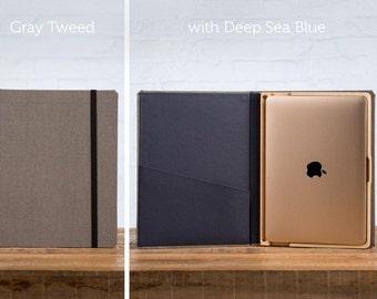 "The Cartella 12"" Macbook Linen Case - Gray Tweed with Deep Sea Blue"