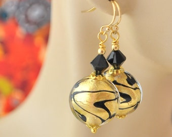 Gold and Black Venetian Murano Glass Beads, Gold and Jet Black Swarovski Crystal Earrings