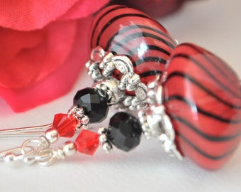 Red and Black Swirl Venetian Glass Hand Blown Earrings with Silver and Siam Red Swarovski Crystals