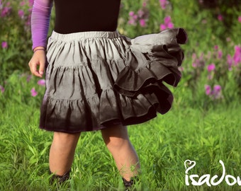 Girl's dip dyed black and gray twirly skirt