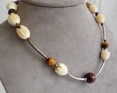 Hawaiian Pikake Flower & Tigereye Necklace and Earrings Set
