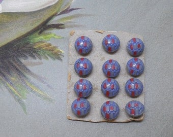 12 Vintage Czech Gray Painted Glass Miniature Diminutive Buttons Unused on Card Lot 2