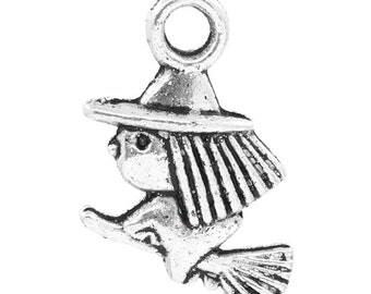 SALE - 10pcs. Antique Silver Witch and Broom Halloween Charms Pendants - 13 x 10mm
