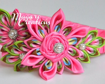 Pink headband,kanzashi,headband,Headbands,girl hair accessory,girl headband,headband for girls,flower headband,headband with flowers.