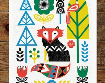 Folk Fox, Woods, Trees, Forest, Scandinavian, Folk Art, 11x14 Art Print