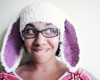 SUMMER SALE Adult Bunny Hat, Teen Bunny Ears, Rabbit Hat, Bunny Costume, Womens Hat, Bunny Beanie, Teen Hat, White Plum, Bunny Photo Prop