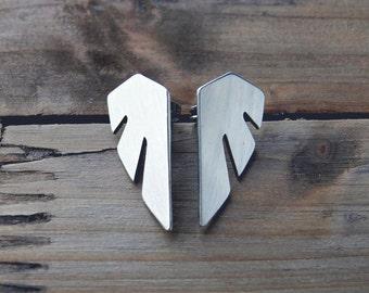 wing stud earrings / surgical studs / geometric wing earrings / statement earrings / stainless steel