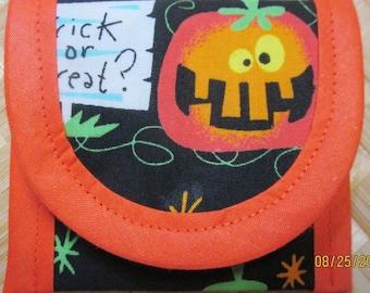 3 Coin Purse, Halloween Pumpkin Jack-o-Lantern Fabric 3 x 3 clutch, envelope,