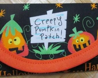1- 6 x 3 Wallet, Halloween Pumpkin Jack-o-Lantern Fabric 6 x 3 clutch, envelope, 3 Pumpkins on back Orange lining