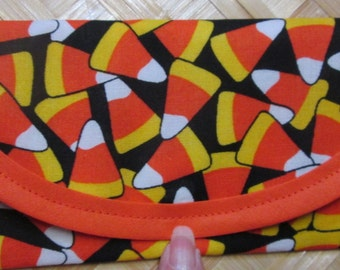 Halloween Candy Corn  7 x 3 Money Wallet, Clutch, sewinggramMax