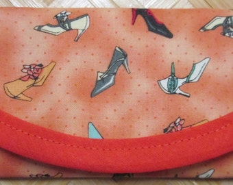 Wallet, clutch, bag, Hi-heel Shoe fabric, Save Money for Shoes, 6 x 3 Gift Card size, Business card size, lining same fabric.