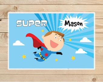 super hero placemat Placemat - Kids Personalized super hero Placemat - Superhero Laminated Placemat for Kids