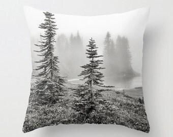 Pillow Cover, Trees, Fog, Lake, Wilderness, Black, White, Gray, Decorative Throw Pillow Cover, fPOE, 16x16, 18x18, 20x20
