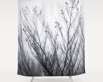 Shower Curtain, Minimalist, Winter Fog, Branches, Gray, Black, White, 71x74 inches, Exceptional Quality, fPOE