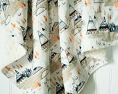 Minky Baby Blanket - Teepees and Foxes Oak - Personalization Options Available