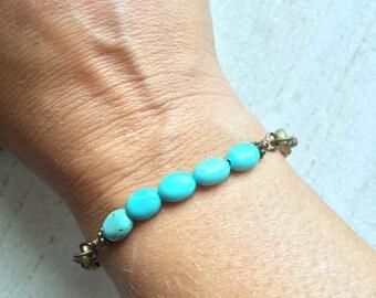 Oval Turquoise Beaded Stacking Bracelet
