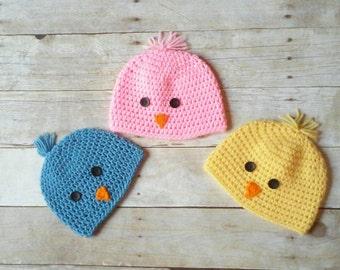 Baby Chick Hat, Chick Beanie, Birdie Beanie, Chickadee, Baby Bird, Spring Chicken Hat