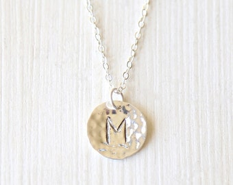 Custom Stamped Initial Hammered Pendant Circle Layering Necklace // Sterling Silver// Bridesmaid Gift Necklaces