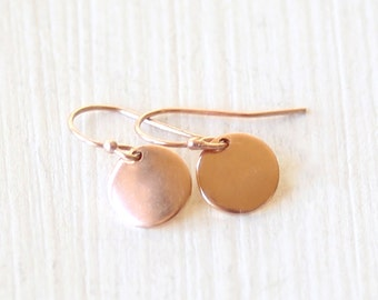 Rose Gold Dot Disc Earrings - simple everyday modern jewelry