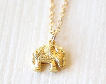 Detailed Gold Bohemian Elephant Necklace - simple minimalist jewelry
